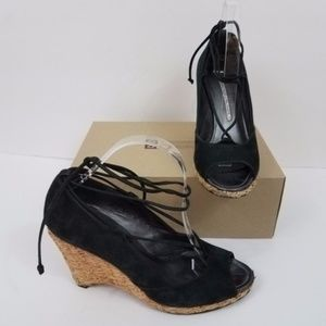 Donald J pliner wedges mana black lace up ankle st
